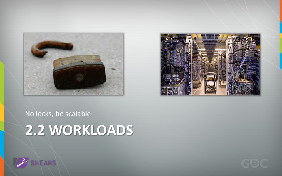 2.2 WORKLOADS No locks, be scalable