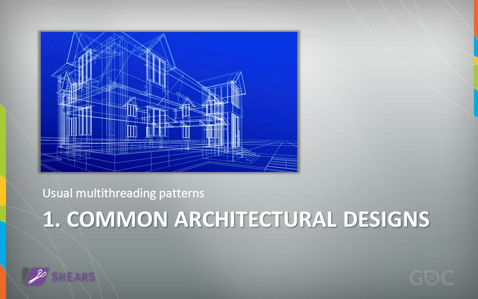 1. COMMON ARCHITECTURAL DESIGNS Usual multithreading patterns
