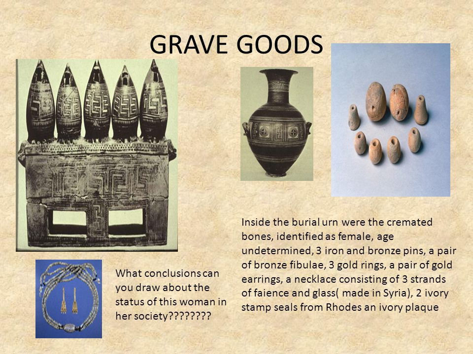 GRAVE GOODS Inside the burial urn were the cremated bones, identified as female, age undetermined, 3 iron and bronze pins, a pair of bronze fibulae, 3