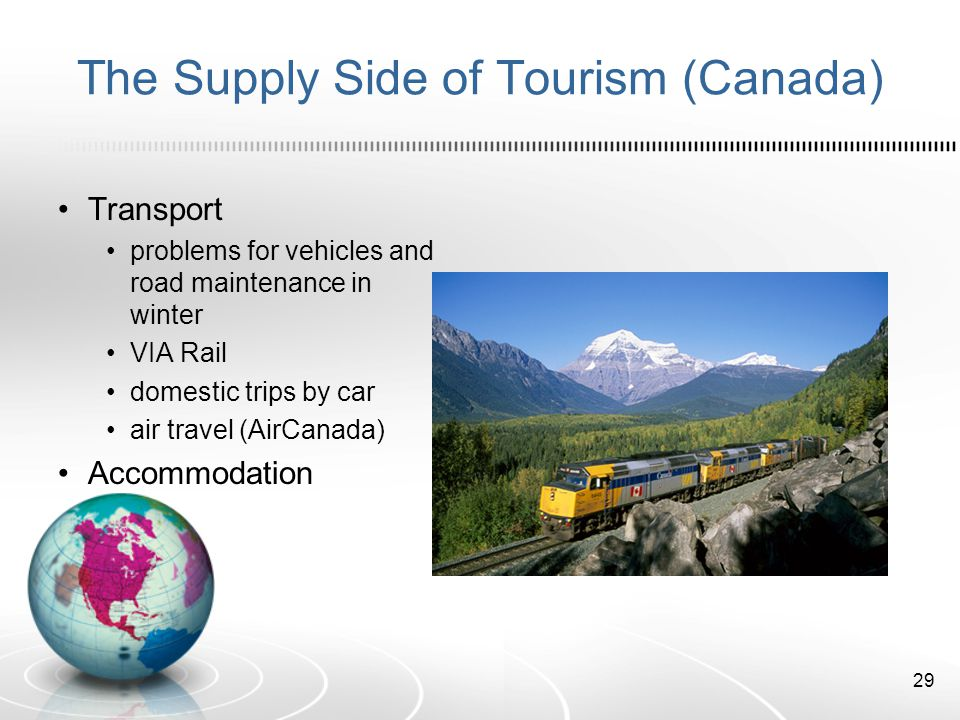 The Supply Side of Tourism (Canada) Transport problems for vehicles and road maintenance in winter VIA Rail domestic trips by car air travel (AirCanada) Accommodation 29
