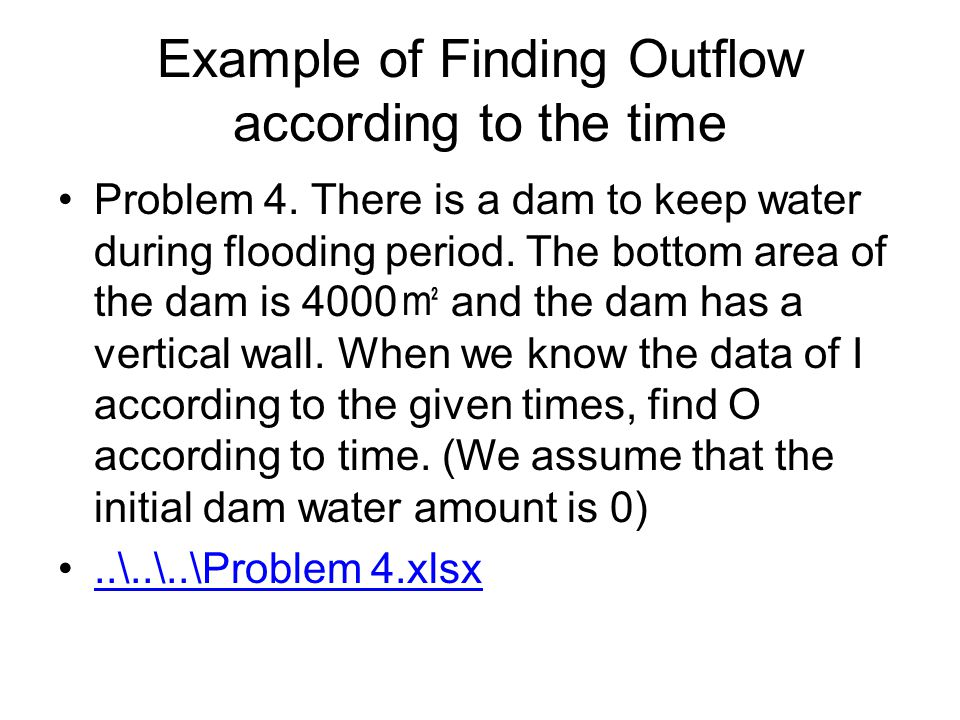 Example of Finding Outflow according to the time Problem 4.
