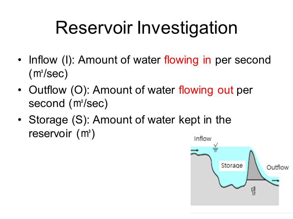 Reservoir Investigation Inflow (I): Amount of water flowing in per second ( /sec) Outflow (O): Amount of water flowing out per second ( /sec) Storage (S): Amount of water kept in the reservoir ( )