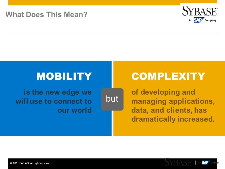 ©2011 SAP AG. All rights reserved.9 What Does This Mean? is the new edge we will use to connect to our world MOBILITY of developing and managing appli