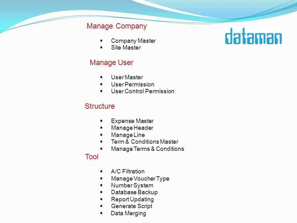 Manage Company Company Master Site Master Manage User User Master User Permission User Control Permission Structure Expense Master Manage Header Manag