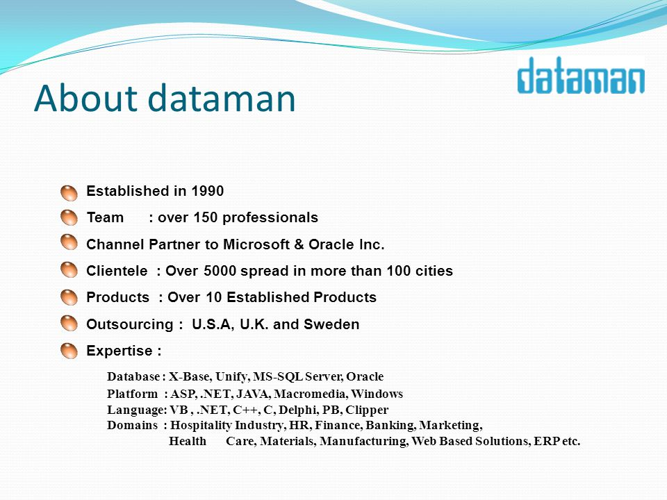 About dataman Established in 1990 Team : over 150 professionals Channel Partner to Microsoft & Oracle Inc.