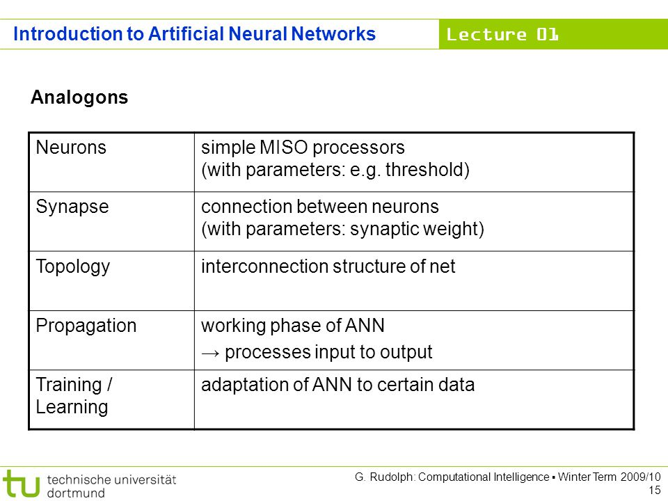 Lecture 01 G. Rudolph: Computational Intelligence Winter Term 2009/10 15 Analogons Neuronssimple MISO processors (with parameters: e.g. threshold) Syn