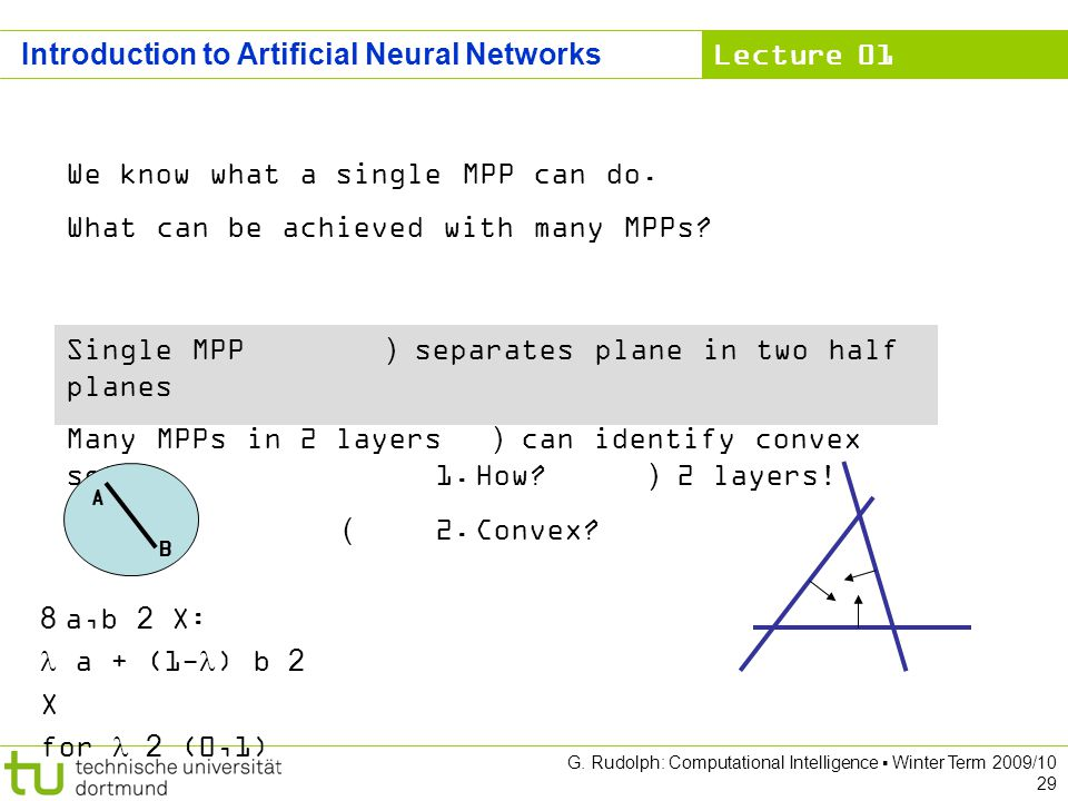 Lecture 01 G. Rudolph: Computational Intelligence Winter Term 2009/10 29 Introduction to Artificial Neural Networks We know what a single MPP can do.