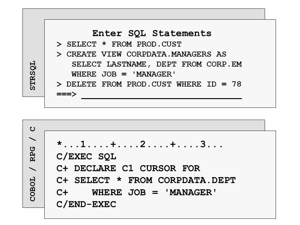 COBOL / RPG / C *...1....+....2....+....3... C/EXEC SQL C+ DECLARE C1 CURSOR FOR C+ SELECT * FROM CORPDATA.DEPT C+ WHERE JOB = 'MANAGER' C/END-EXEC ST
