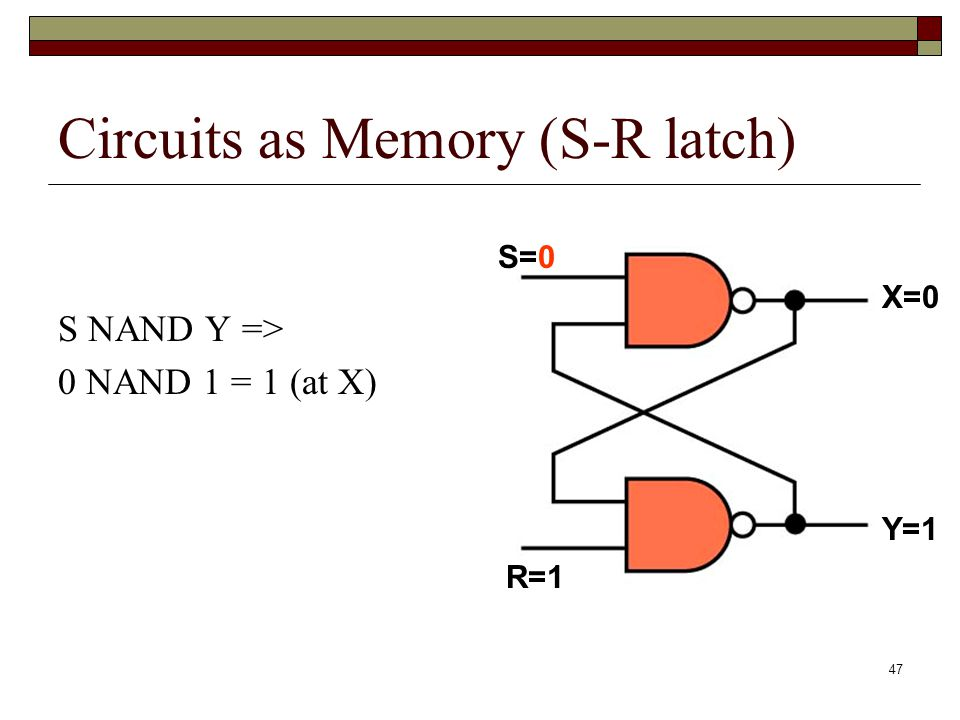 48 Circuits as Memory (S-R latch) S NAND Y => 0 NAND 1 = 1 (at X) X NAND R => 1 NAND 1 = 0 (at Y) S=0 R=1 X=1 Y=1