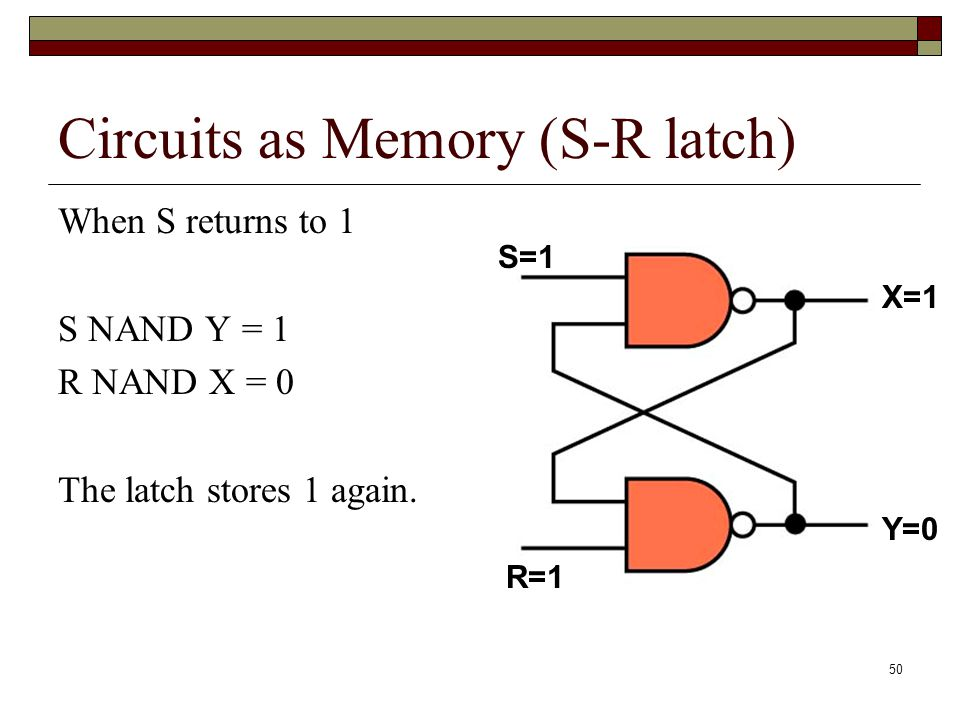 51 Circuits as Memory There are many ways to construct memory circuits.
