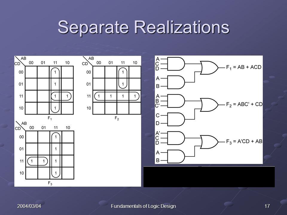 172004/03/04Fundamentals of Logic Design Separate Realizations