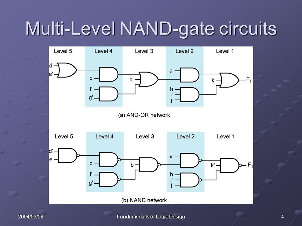 52004/03/04Fundamentals of Logic Design Contents 7.1 Multi-Level Gate Circuits 7.2NAND and NOR Gates 7.3Design of Two-Level Circuits Using NAND and NOR Gates 7.4Design of Multi-Level NAND and NOR Gate Circuits 7.5Circuit Conversion Using Alternative Gate Symbols 7.6Design of Two-Level, Multiple-Output Circuits 7.7Multiple-Output NAND and NOR Circuits