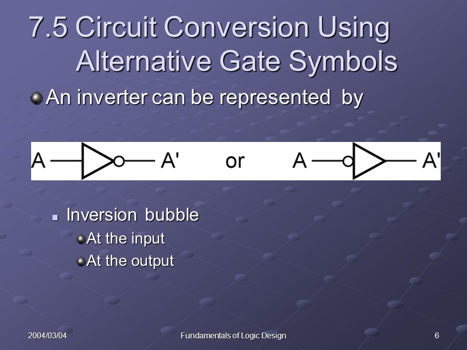 62004/03/04Fundamentals of Logic Design 7.5Circuit Conversion Using Alternative Gate Symbols An inverter can be represented by Inversion bubble Invers