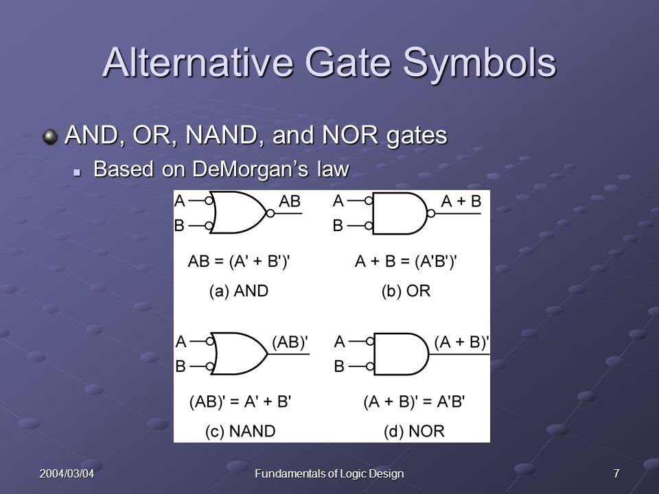 82004/03/04Fundamentals of Logic Design Alternative Gate Symbols Why alternative symbols.