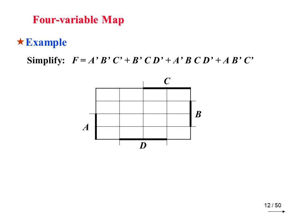 11 / 50 Four-variable Map w x y zFMinterm 00 0 1 m0m0 10 0 0 1 1 m1m1 20 0 1 0 1 m2m2 30 0 1 1 0 m3m3 40 1 0 0 1 m4m4 50 1 1 m5m5 60 1 1 0 1 m6m6 70 1 1 1 0 m7m7 81 0 0 0 1 m8m8 91 0 0 1 1 m9m9 10 0 m 10 111 0 1 1 0 m 11 121 1 0 0 1 m 12 131 1 0 1 1 m 13 141 1 1 0 1 m 14 151 1 0 m 15 y z wx00011110 00 01 11 10 Example y 1101 1101 x w 1101 1100 z