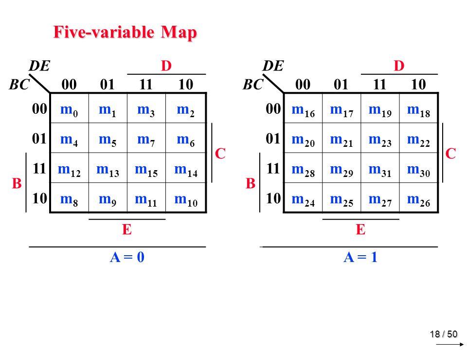 17 / 50 Four-variable Map Example Simplify: F = A B C + B C D + A B C D + A B C C 111 1 B A 111 D
