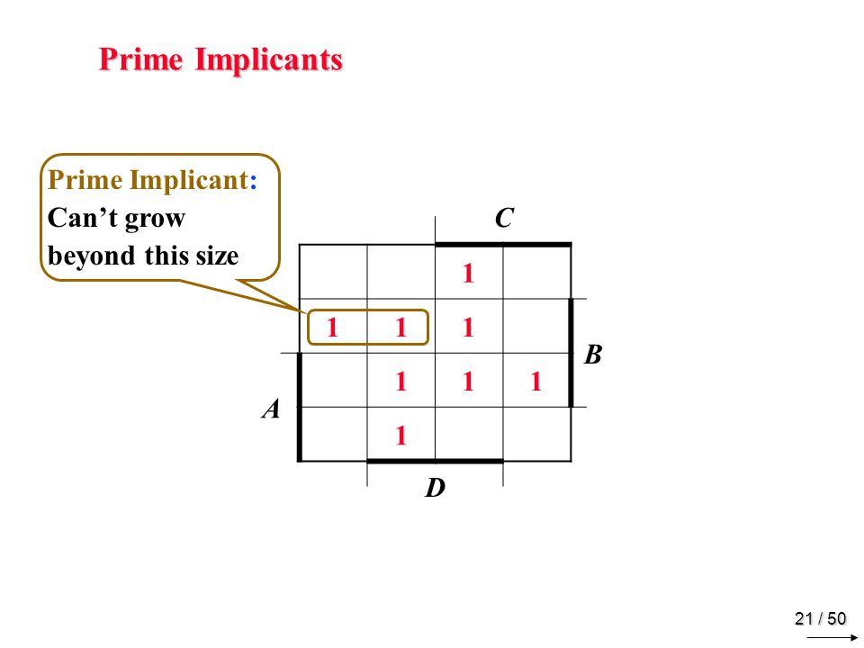 20 / 50 Implicants C 1 111 B A 111 1 D Implicant: Gives F = 1