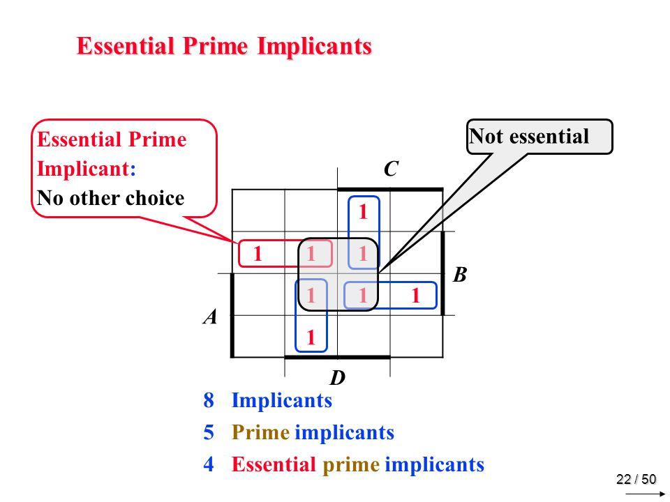 21 / 50 Prime Implicants C 1 111 B A 111 1 D Prime Implicant: Cant grow beyond this size