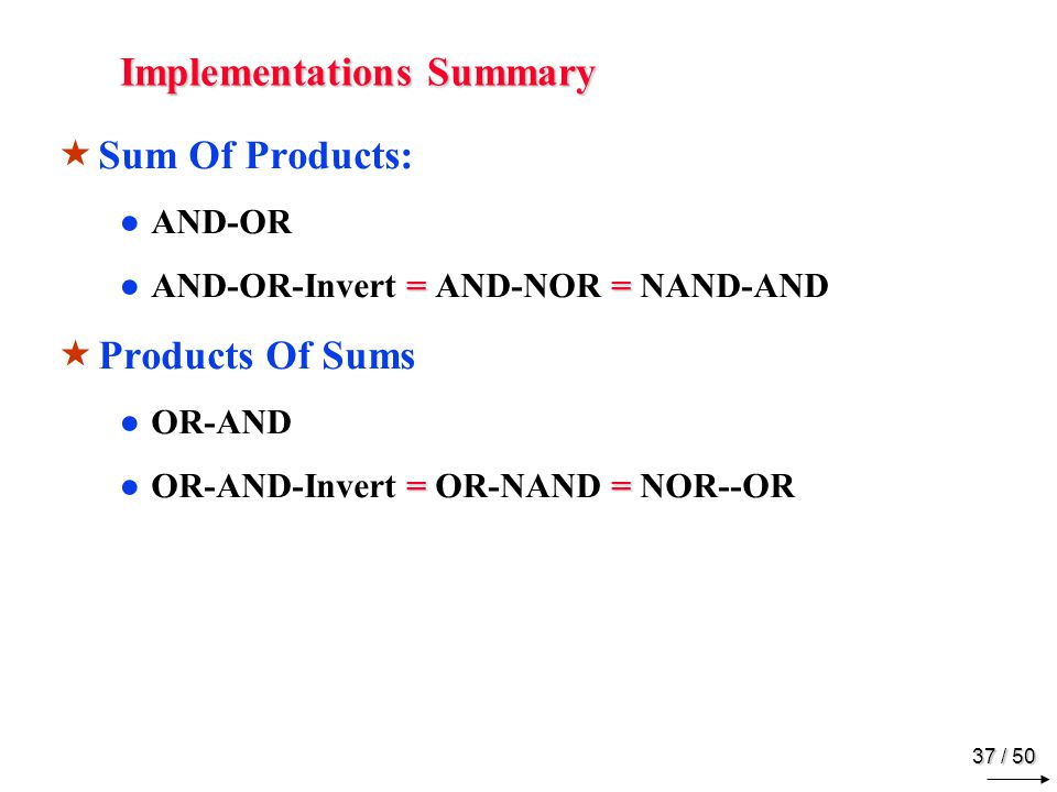 36 / 50 Other Implementations AND-OR-Invert OR-AND-Invert
