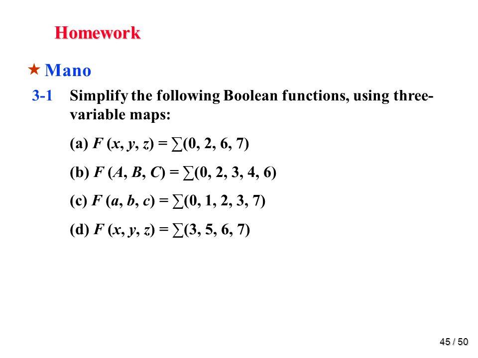 44 / 50 Homework Mano Chapter 3 3-1 3-3 3-5 3-7 3-9 3-15 3-16 3-18 3-22