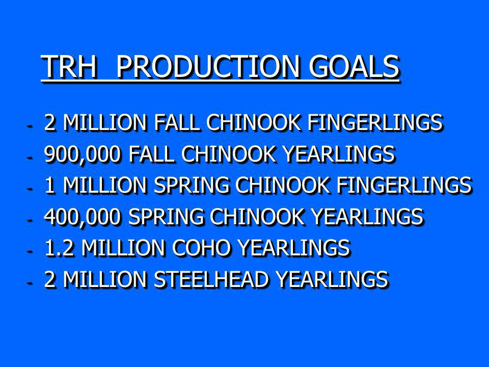 TRH PRODUCTION GOALS - 2 MILLION FALL CHINOOK FINGERLINGS - 900,000 FALL CHINOOK YEARLINGS - 1 MILLION SPRING CHINOOK FINGERLINGS - 400,000 SPRING CHINOOK YEARLINGS - 1.2 MILLION COHO YEARLINGS - 2 MILLION STEELHEAD YEARLINGS - 2 MILLION FALL CHINOOK FINGERLINGS - 900,000 FALL CHINOOK YEARLINGS - 1 MILLION SPRING CHINOOK FINGERLINGS - 400,000 SPRING CHINOOK YEARLINGS - 1.2 MILLION COHO YEARLINGS - 2 MILLION STEELHEAD YEARLINGS