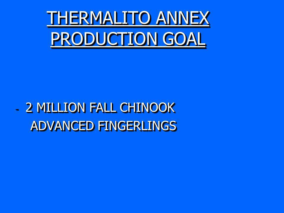 THERMALITO ANNEX PRODUCTION GOAL - 2 MILLION FALL CHINOOK ADVANCED FINGERLINGS ADVANCED FINGERLINGS - 2 MILLION FALL CHINOOK ADVANCED FINGERLINGS ADVANCED FINGERLINGS