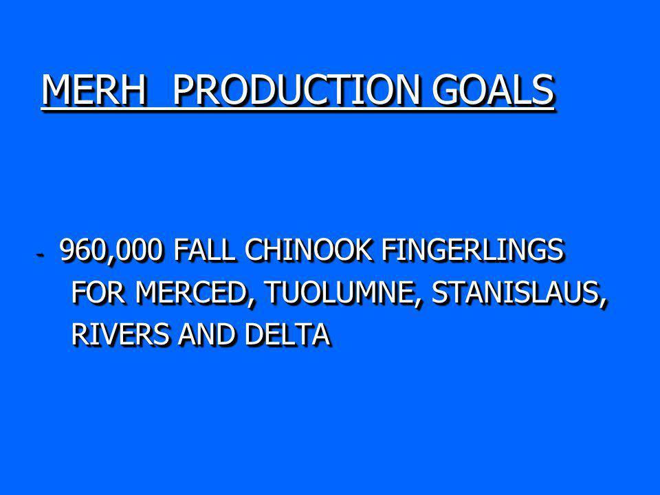 MERH PRODUCTION GOALS - 960,000 FALL CHINOOK FINGERLINGS FOR MERCED, TUOLUMNE, STANISLAUS, FOR MERCED, TUOLUMNE, STANISLAUS, RIVERS AND DELTA RIVERS AND DELTA - 960,000 FALL CHINOOK FINGERLINGS FOR MERCED, TUOLUMNE, STANISLAUS, FOR MERCED, TUOLUMNE, STANISLAUS, RIVERS AND DELTA RIVERS AND DELTA