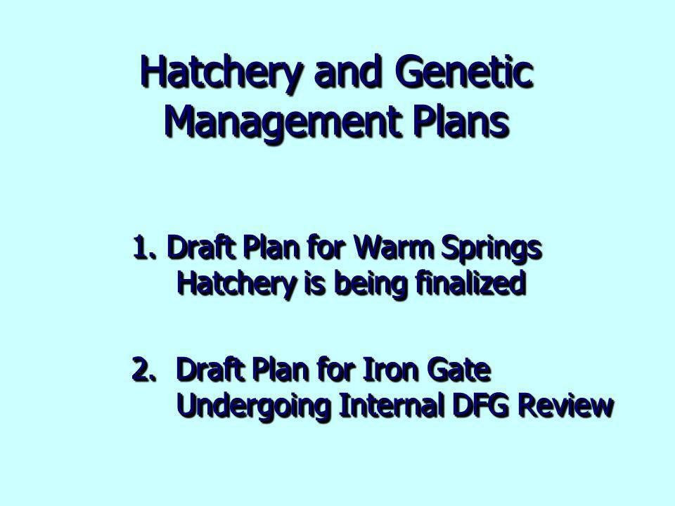 Hatchery and Genetic Management Plans 1. Draft Plan for Warm Springs Hatchery is being finalized 2.