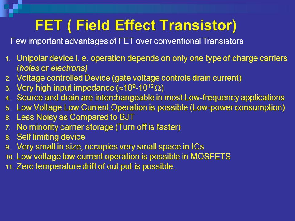 FET ( Field Effect Transistor) 1.Unipolar device i.