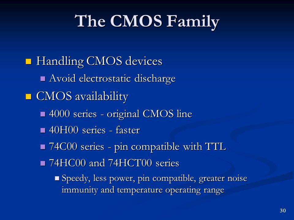 The CMOS Family Handling CMOS devices Handling CMOS devices Avoid electrostatic discharge Avoid electrostatic discharge CMOS availability CMOS availab