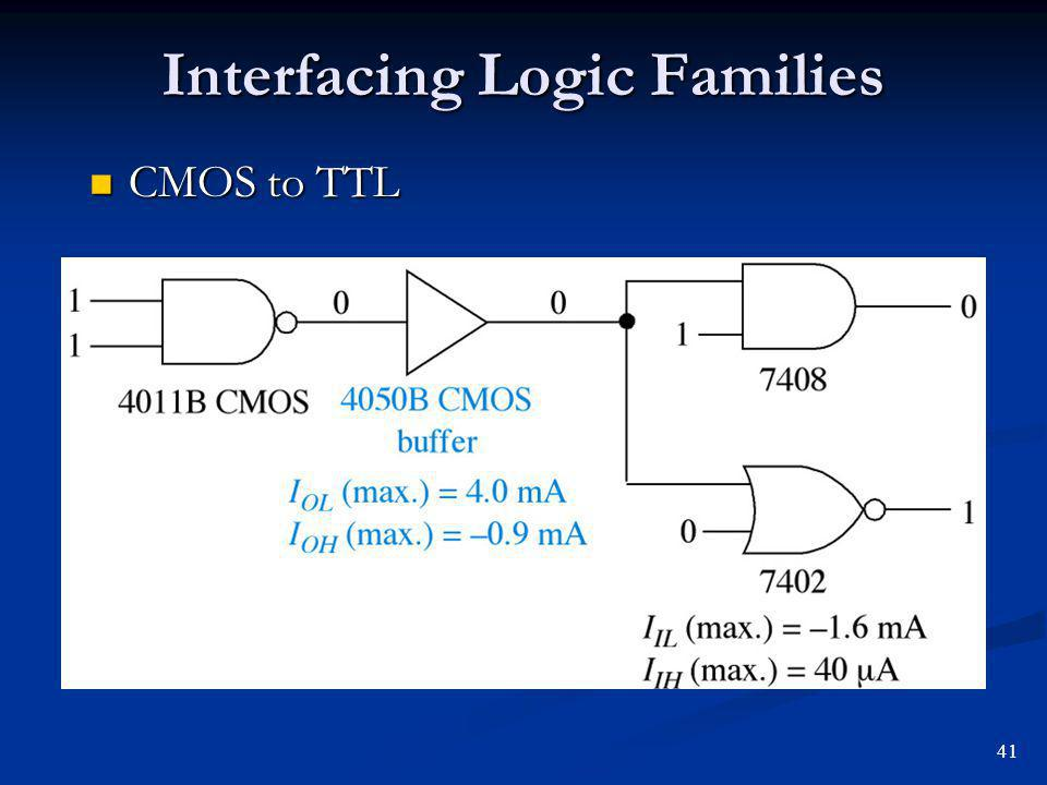 Interfacing Logic Families CMOS to TTL CMOS to TTL 41