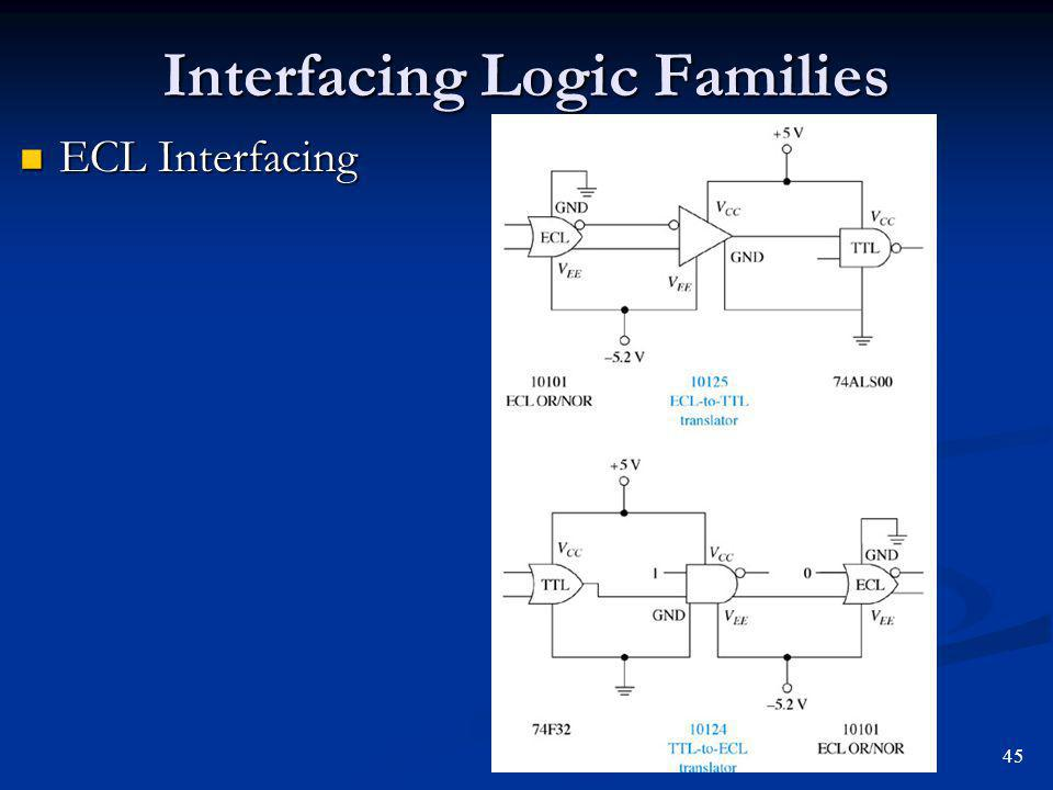 Interfacing Logic Families ECL Interfacing ECL Interfacing 45