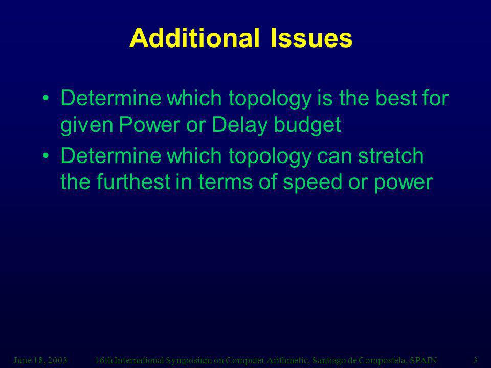June 18, 200316th International Symposium on Computer Arithmetic, Santiago de Compostela, SPAIN3 Additional Issues Determine which topology is the best for given Power or Delay budget Determine which topology can stretch the furthest in terms of speed or power