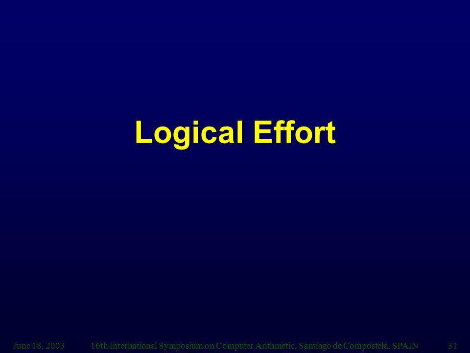 June 18, 200316th International Symposium on Computer Arithmetic, Santiago de Compostela, SPAIN31 Logical Effort