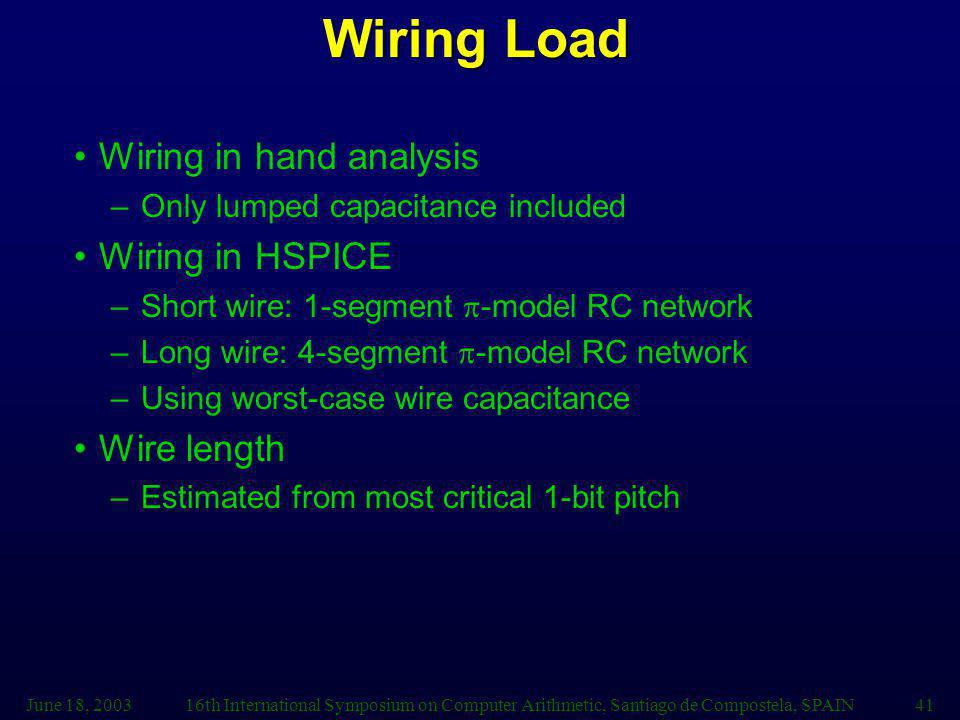 June 18, 200316th International Symposium on Computer Arithmetic, Santiago de Compostela, SPAIN41 Wiring Load Wiring in hand analysis –Only lumped capacitance included Wiring in HSPICE –Short wire: 1-segment -model RC network –Long wire: 4-segment -model RC network –Using worst-case wire capacitance Wire length –Estimated from most critical 1-bit pitch