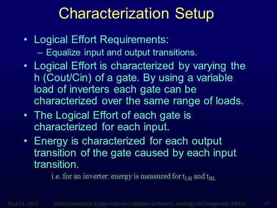June 18, 200316th International Symposium on Computer Arithmetic, Santiago de Compostela, SPAIN47 Characterization Setup Logical Effort Requirements: