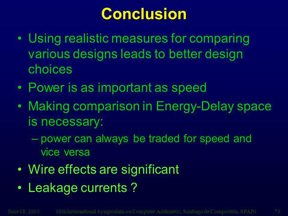 June 18, 200316th International Symposium on Computer Arithmetic, Santiago de Compostela, SPAIN73Conclusion Using realistic measures for comparing various designs leads to better design choices Power is as important as speed Making comparison in Energy-Delay space is necessary: –power can always be traded for speed and vice versa Wire effects are significant Leakage currents ?