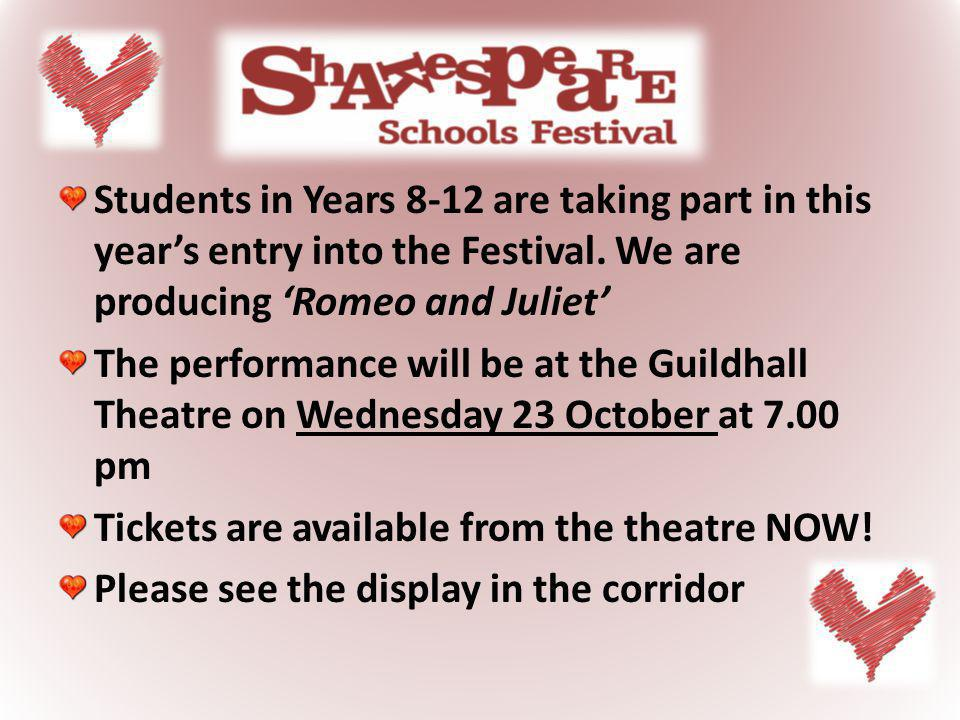 Students in Years 8-12 are taking part in this years entry into the Festival.