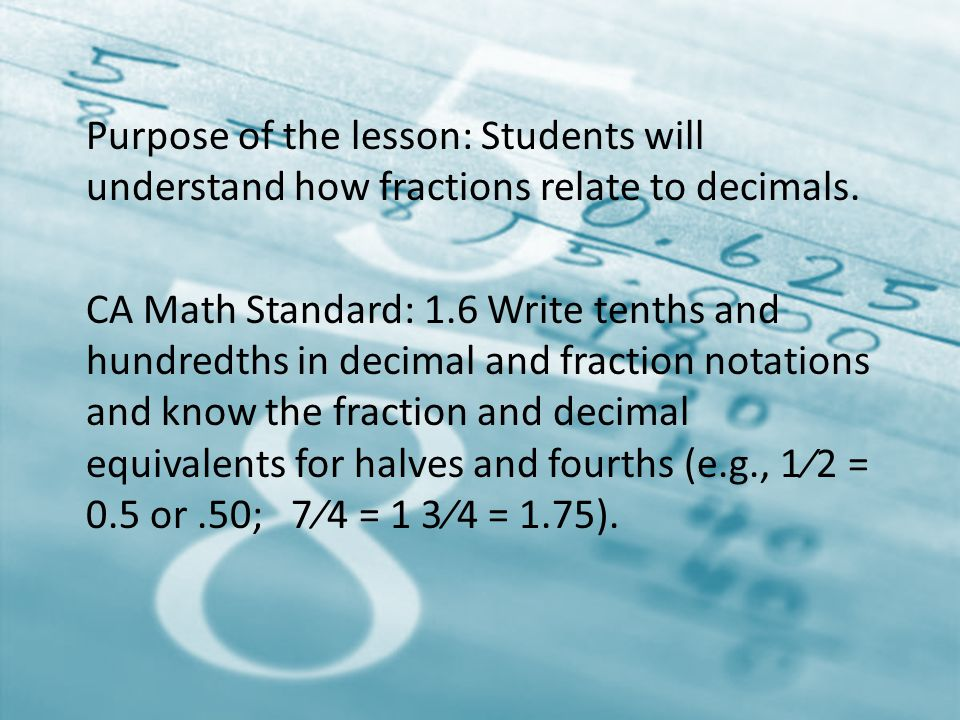 Purpose of the lesson: Students will understand how fractions relate to decimals.