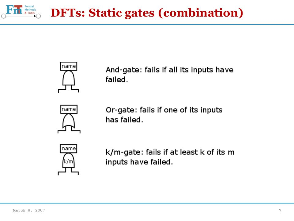 March 8, 20077 DFTs: Static gates (combination)