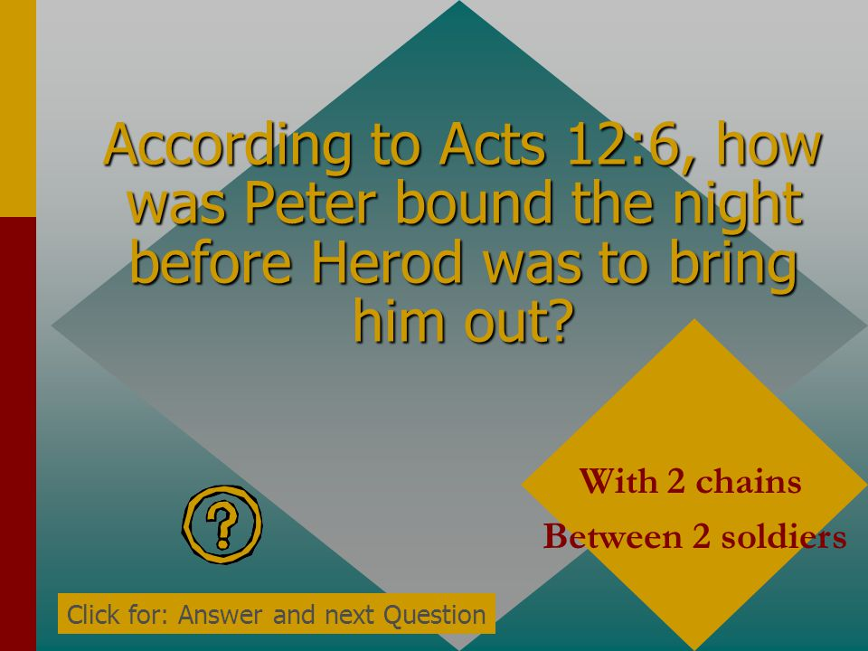 According to Acts 12:6, what was Peter doing the night before Herod was about to bring him out? sleeping Click for: Answer and next Question
