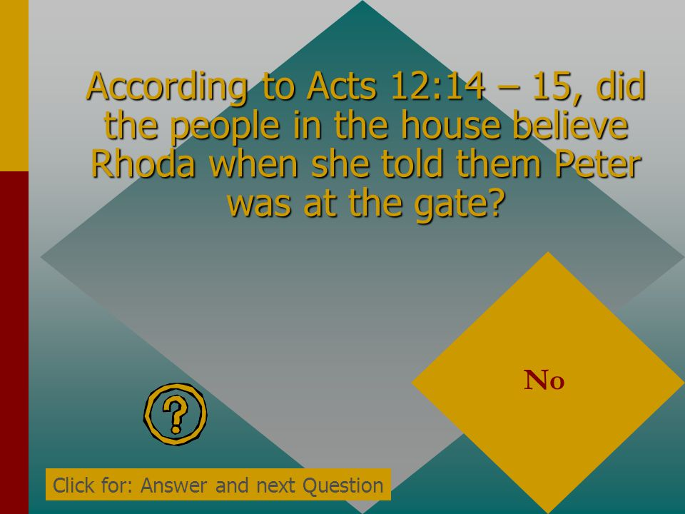According to Acts 12:14, when Rhoda recognized Peters voice did she open the gate? No Click for: Answer and next Question