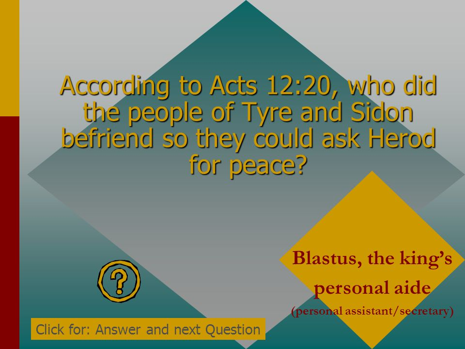 According to Acts 12:20, who was Herod very angry with? The people of Tyre and Sidon Click for: Answer and next Question