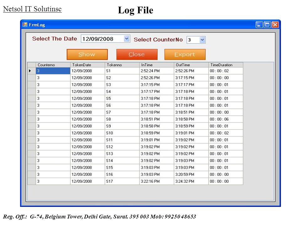 Log File Netsol IT Solutinsc Reg. Off.: G-74, Belgium Tower, Delhi Gate, Surat. 395 003 Mob: 99250 48653