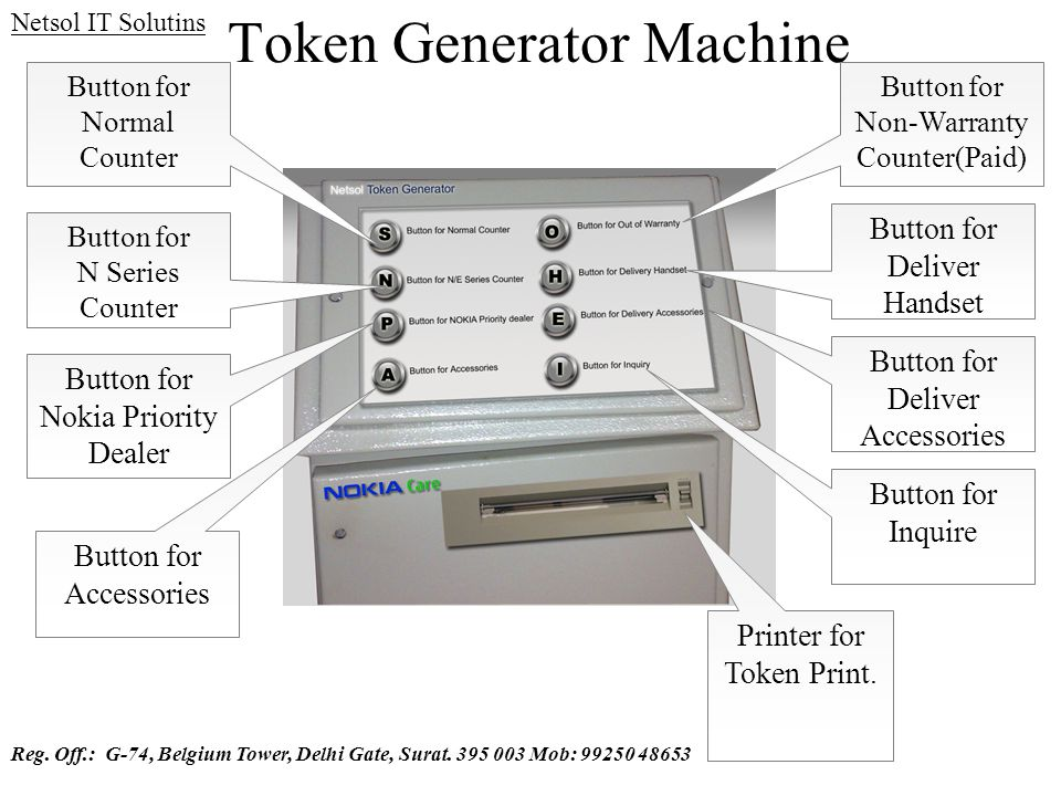 Token Generator Machine Button for Normal Counter Button for N Series Counter Button for Non-Warranty Counter(Paid) Button for Accessories Printer for