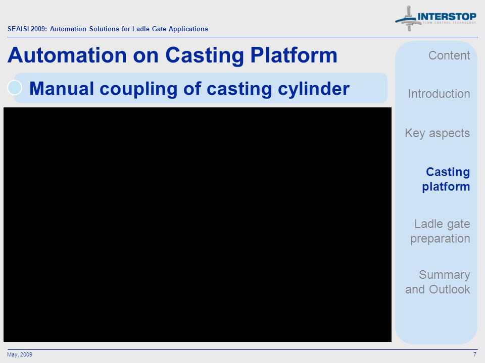 SEAISI 2009: Automation Solutions for Ladle Gate Applications May, 20097 Manual coupling of casting cylinder Automation on Casting Platform Content In