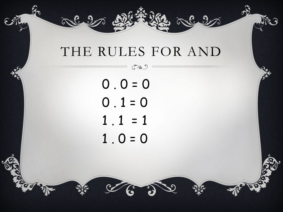 THE RULES FOR AND 0. 0 = 0 0. 1 = 0 1. 1 = 1 1. 0 = 0