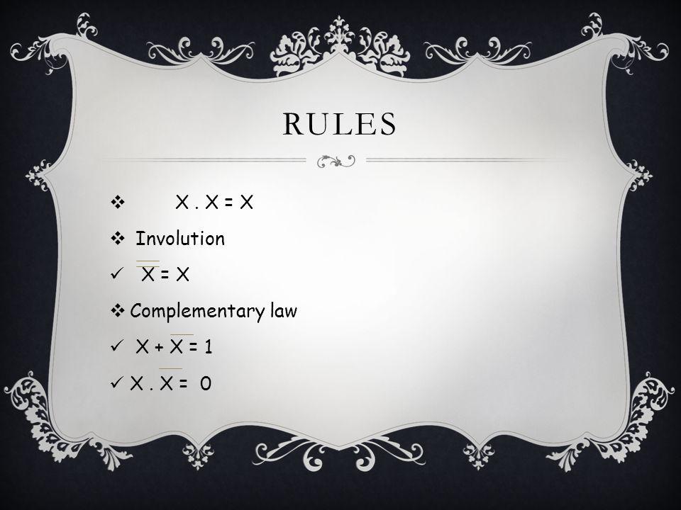 RULES X. X = X Involution X = X Complementary law X + X = 1 X. X = 0