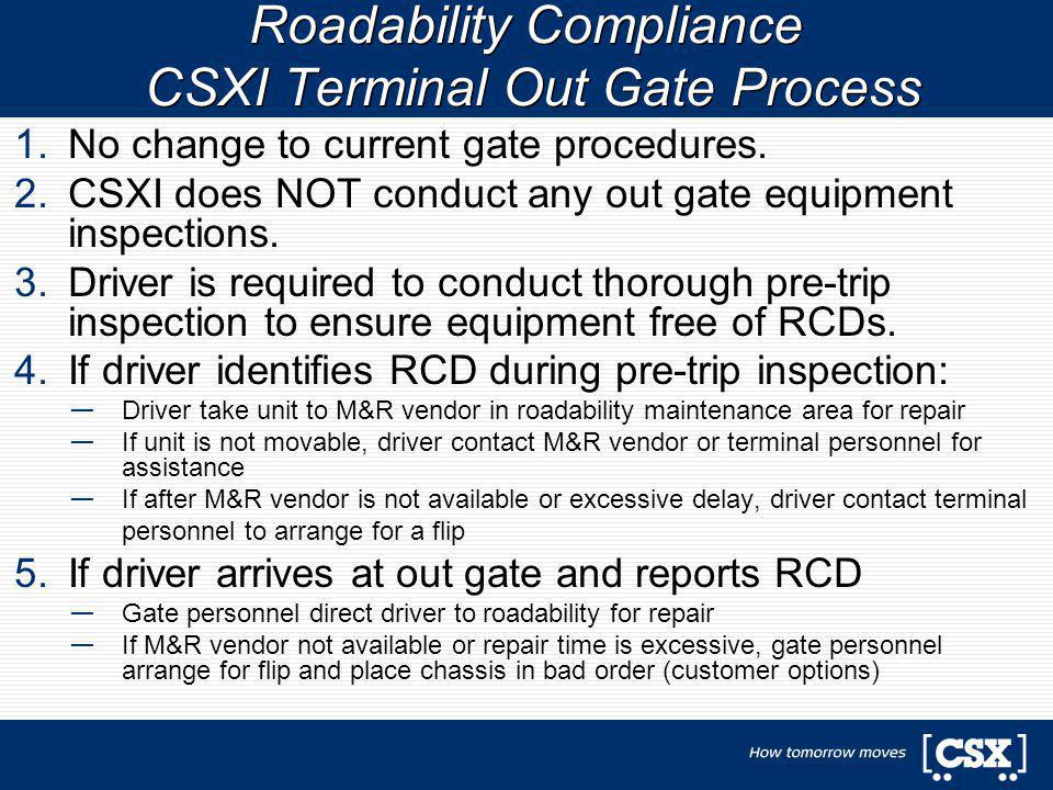 1.No change to current gate procedures. 2.CSXI does NOT conduct any out gate equipment inspections. 3.Driver is required to conduct thorough pre-trip