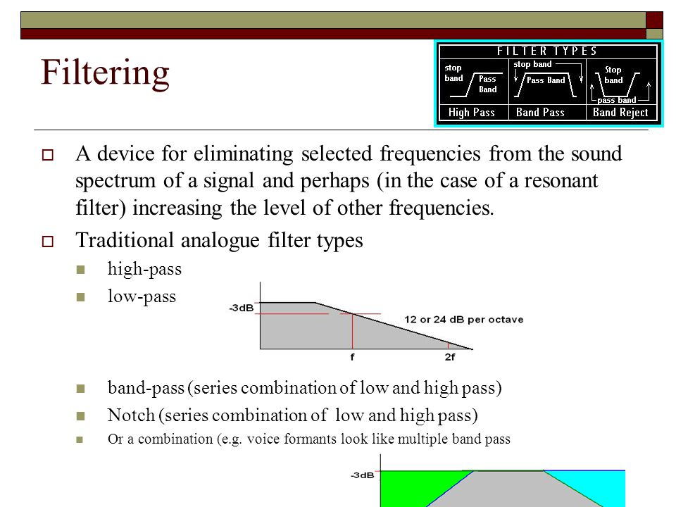 Filtering A device for eliminating selected frequencies from the sound spectrum of a signal and perhaps (in the case of a resonant filter) increasing the level of other frequencies.